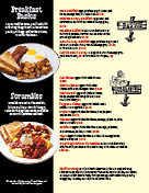 Pancakes and omelets page of menu