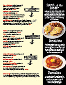 Steaks and eggs page of menu