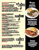 Burgers and drinks page of menu